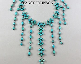 Navajo-PANSY JOHNSON-Natural Carico Lake Turquoise-925-Cluster-Statement-Necklace