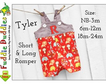 Tyler Baby Romper Sewing Pattern pdf,  Baby Boy Sewing Patterns, Jon Jon Pattern, Longall pdf sewing pattern. Short, Long Romper Pattern.