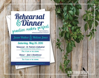 Digital Printable Wedding or Rehearsal Invitation - Blue, Fun, Modern Invitation -  Custom colors