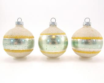 Striped Shiny Brite Vintage Glass Christmas Ornaments Glass Glitter Christmas Decorations 1950s