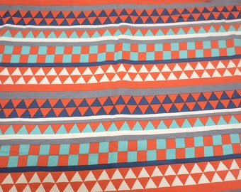 "1 Yard - 60"" Width - French Terry Cotton Knit - Orange/Blue/Mint Triangle Geometric Print"