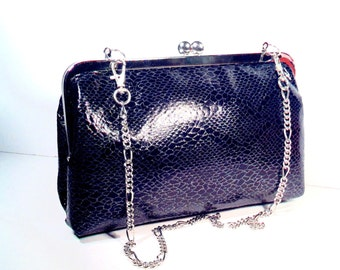 "Black Snake Skin Design Evening Clutch Purse, 8X5X2 w/ 23 "" Silver Chain Handle"
