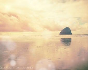 Beach Photography | Oregon Coast | Vintage Style | Pastel Colors | Cape Kiwanda | Pacific City | Ocean | Peach and Yellow