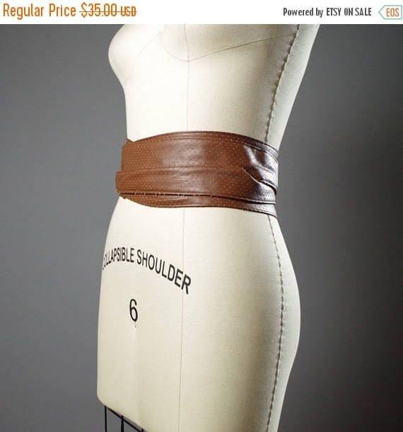 SUMMER SALE Vegan Leather Obi Belt - Rustic Brown Vegan Leather Obi Belt - Women's Wrap Belt - Rustic Obi Belt - Boho Brown Belt