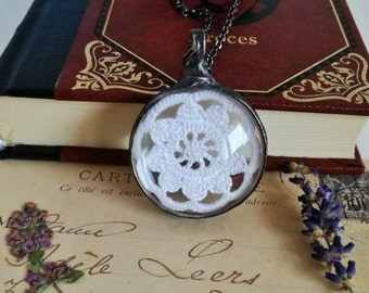 Lace Necklace, White Lace crochet, wedding necklace,bridesmaid necklace, boho jewelry, gypsy necklace, boho necklace, Unique Gift, BUSTANI