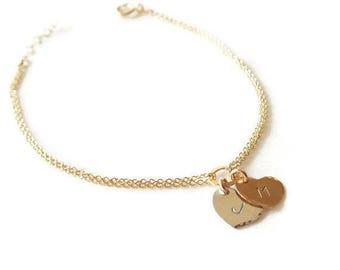ON SALE Gold Filled Two Hearts Bracelet - Personalized Sweetheart Bracelet - Personalized ID Bracelet - Bridal Shower Gift - Wedding