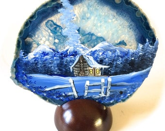 Hand Painted Brazilian Agate Mountain Winter Cabin