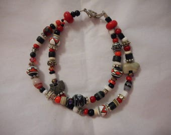 Bracelet, Double Strand, Southwestern, Bear Fetish, Handpainted Beads, Black, Red, White, Geometric Patterns, Stones, Heishi, Glass