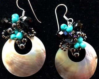 Round Cut Mother-of-Pearl Wire-Wrapped Earrings