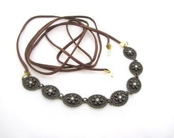 Suede leather choker necklace wrap bracelet  crystal rhinestone sparkle floral flower bohemian boho music festival headband hair jewelry