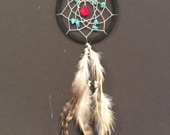 Dream Catcher for Car Mirror- Black and White with Turquoise and Red stones, Mini Dreamcatcher, Small Dreamcatcher, Boho Dreamcatcher