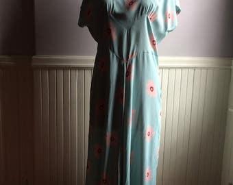 Women's Vintage Clothing / 1980's Rayon Floral Dress / Mirrika Knakk Rayon Dress