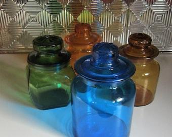 Vintage Blue Glass Jar with Lid  Blue Apothecary Jar Kitchen Canister Blue Kitchen Bath Spa Jar Blue Vintage Glass Cookie Jar Bridal Gift