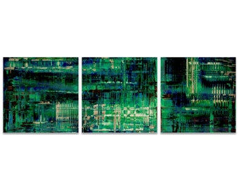 Teal Metal Art 'Aporia Blue Triptych' by Nicholas Yust - Urban Artwork Abstract Wall Art on Metal or Acrylic