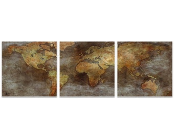 World Map Art '1800s Trade Routes Map Triptych Large' by Ben Judd - Rustic Wall Decor Historic Artwork on Metal or Acrylic