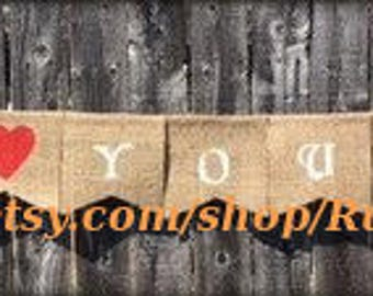 Love You More Wedding hanging burlap banner, wedding party banner bunting, wedding event, rustic wedding decor, painted wedding party sign