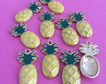 10 x pineapple charms, enamel charms, fruit, tropical, pendant, necklace, earring, hawaian style
