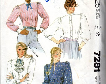"""1980 Tie Blouse Pattern - Size 12, Bust 34"""" 0 McCall's 7281"""