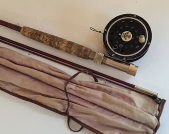 Vintage 1950 Pflueger Medalist Fly Reel and Sila Flex Fly Rod Fishing Pole