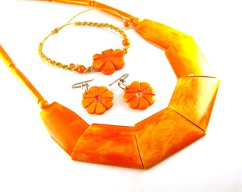 Coral Jewelry Necklace Earrings Bracelet Dyed Coral Jewelry Set Hawaiian Luau Style Flame Orange Coral Macrame Jute