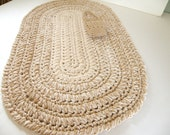 Thick Oval Kitchen Rug, Bath Mat, or Nursery Rug, Bone with Tan Color, Crocheted Oval Rag Rugs, thick and Plush Cotton Area Rugs for Nursery