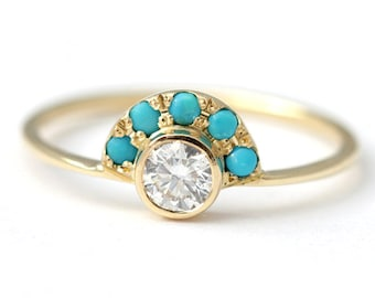 Diamond Engagement Ring, Turquoise and Diamond Ring, Alternative Engagement Ring, Boho Engagement Ring, Gold Turquoise Ring, Round Diamond