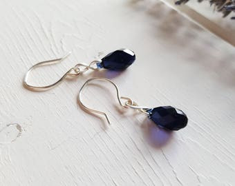 Naomi - Simple Blue Crystal Drop Earrings, Ready to Ship