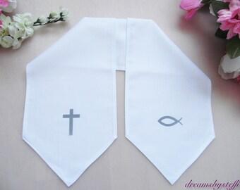 Christening scarf flock foil, 100% cotton