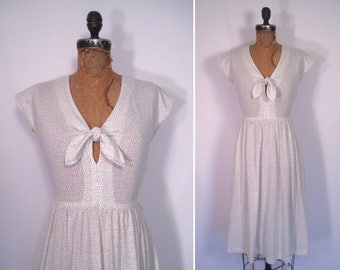1970s white confetti print dress • 70s sheer swiss dot day dress • vintage subliminal sounds dress