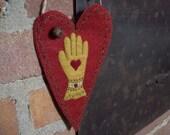 Victorian Glove Heart in Hand Rustic Country Heart Valentine Door Hanger Gift Candy Holder