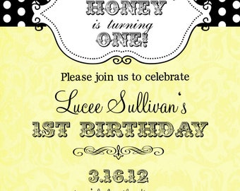 Bee Bumblebee  Birthday Party Invitations with envelopes -little honey-ANY COLORS