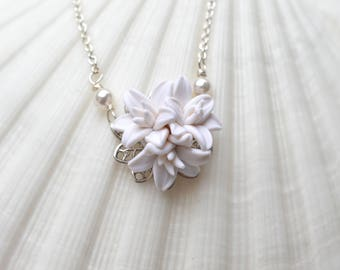 Delicate Simple Drop Necklace in white Day Lily. Day Lily Bridal Necklace. Simple Drop DaY Lily.