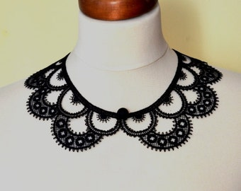 Black Peter Pan Collar, Black Detachable Collar and  button, Cotton, Lace Collar, Lace Necklace, Detachable Collar Necklace, gift for her