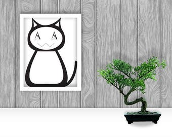Tiddles the Cat Digital Art Print