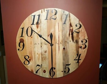 Large 32 inch Pallet Wood Tavern Clock. Recycled wood, rustic wall clock.