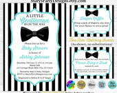 Little Gentleman Baby Shower Invitation - Turquoise Black White Stripes Man Bow Tie Free Diaper Raffle Ticket Book Request Card Printable