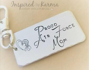 Air Force Mom Key Chain,Military Mom,Personalized Key chain,Military Jewelry,gifts under 30,personalized gifts,Proud USAF Mom,Dad, Air Force