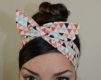 Geometric bow, Spring Chevron Style Dolly Bow head band A1