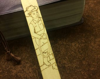 Cowboy Bookmark, Western Bookmark, Boys Bookmark, Wood Burned Bookmark, Pyrography Bookmark, Western Accessory, Gift for Readers