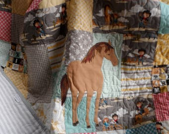 Handmade horse baby or toddler quilt, western crib bedding, cowboy nursery decor