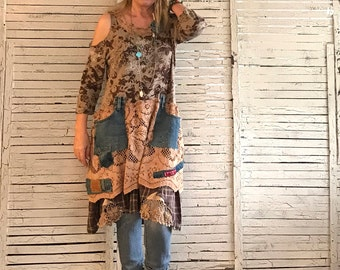 Prairie Chic Dress L/XL, Upcycled Clothing for Women, Florals and Lace in Browns, with Levi's Jeans pockets, Junk Gypsy, Hippie Boho