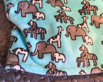 Free Personalization - Minky Baby Blanket - Aruba Safari Minky Blanket - Elephants - Giraffes - Double Minky - Baby Size 29x35