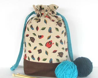Project Bag, Knitting Bag WIP Drawstring Bag, Tote Bag, Yarn Storage - Cardinals - Birds in the Woods