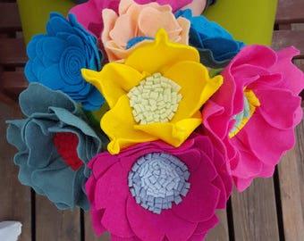 Felt flower bouquet - felt flowers, faux bouquet, alternative bouquet, wedding bouquet, faux flower bouquet