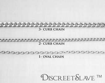 Custom size stainless steel collar necklace for DiscreetSlave pendants and charms. Discreet day collar