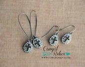 SALE--Gunmetal and Rhinestone Cross Earrings, Western Chic, Bling, Sparkle