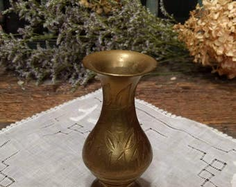 Vintage Brass Etched Vase / Made in India / Boho / Bohemian / Hippie Decor