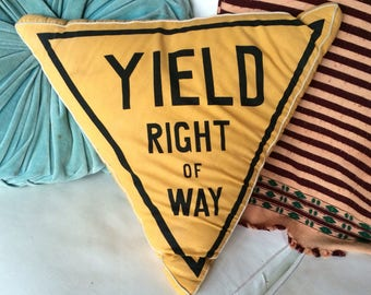 1980's yield sign throw pillow couch bed