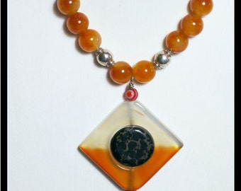 Gemstone Pendant Necklace: Red Carnelian, Yellow Carnelian, Soft Black Pyrite with silver veins, Sterling Silver. OOAK Handmade Jewelry.