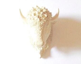 CREAM SMALL Faux Bison Head wall mount wall hanging Faux Taxidermy buffalo / nursery wall decor / office decor / wildlife / kids room decor